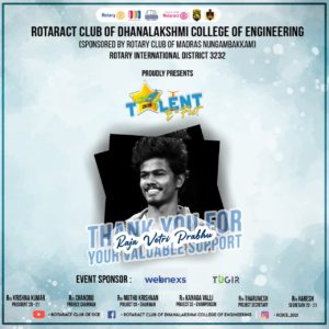 Rotaract Club Of Dhanalakshmi College Of Engineering - Talent E Fest