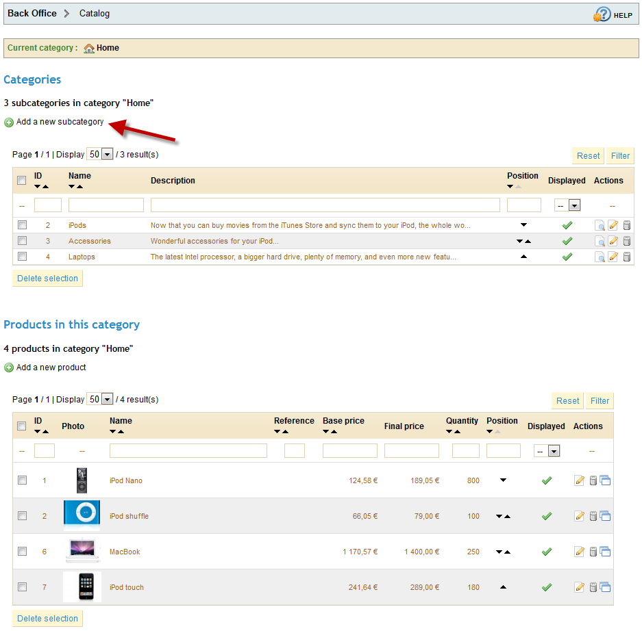 How to add Product and Catagories managaement in Prestashop